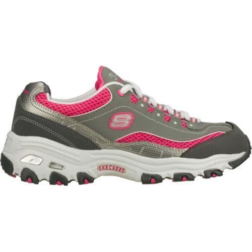 Women's Skechers D'Lites Double Diamond Gray/Pink - Thumbnail 1