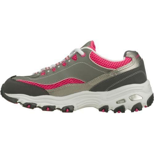 Women's Skechers D'Lites Double Diamond Gray/Pink - Thumbnail 2