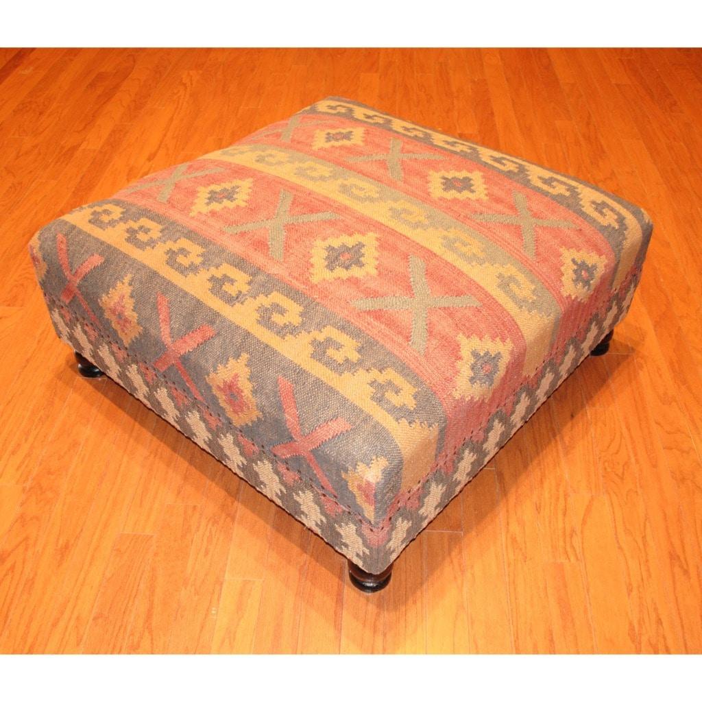 Handmade Kilim-upholstered Storage Footstool Ottoman (India)