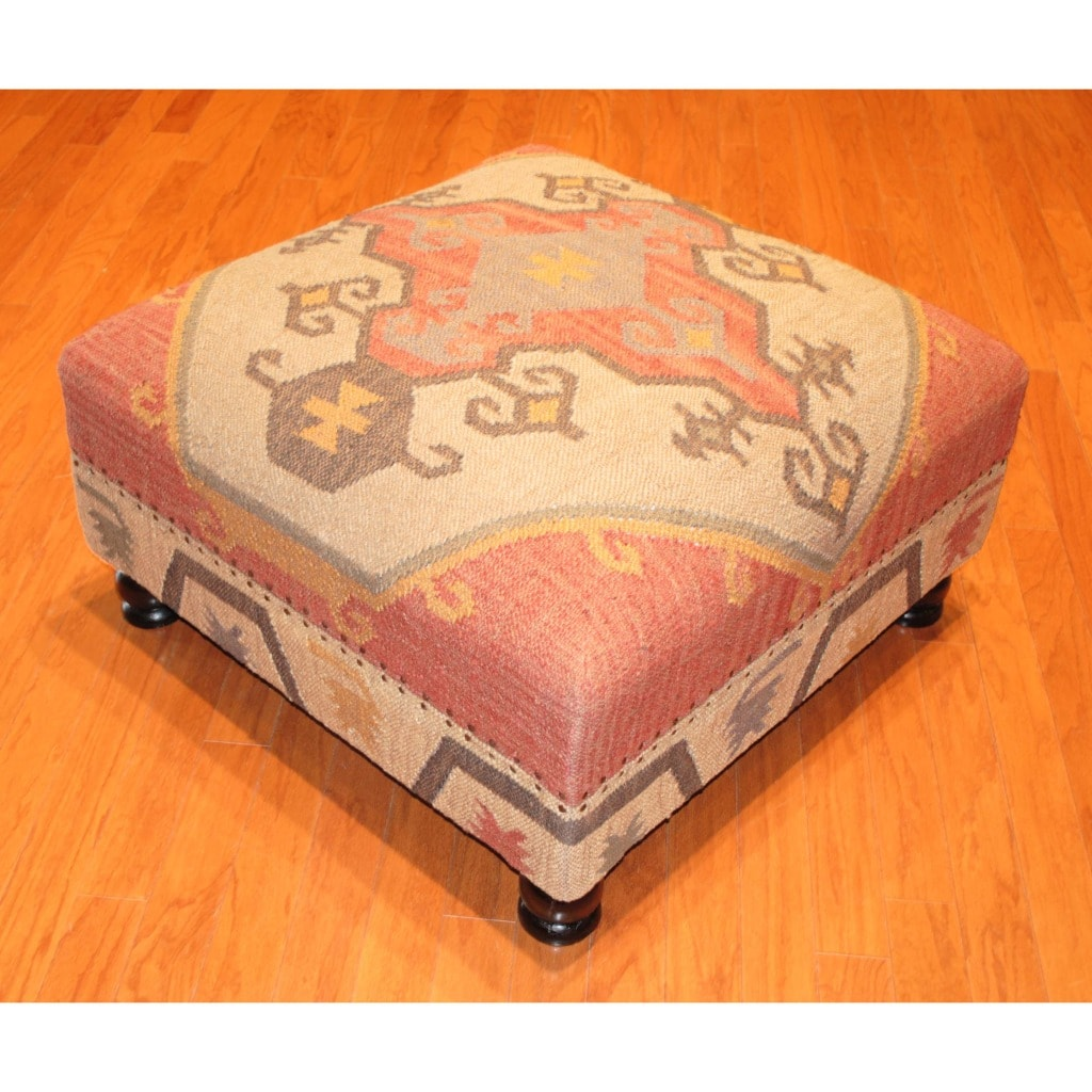 Handmade Kilim Upholstered Storage Ottoman (India)