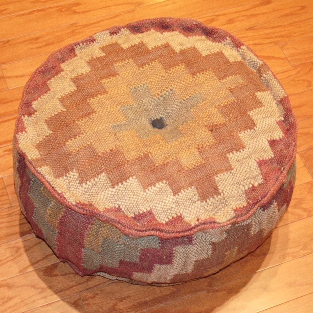 Handmade Kilim Upholstered Round Puff Ottoman (India)