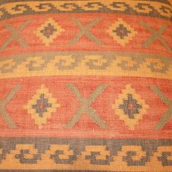 Handmade Kilim-upholstered Storage Footstool Ottoman (India) - Thumbnail 1