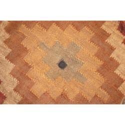 Handmade Kilim Upholstered Round Puff Ottoman (India) - Thumbnail 1