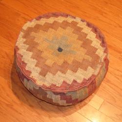 Handmade Kilim Upholstered Round Puff Ottoman (India) - Thumbnail 2