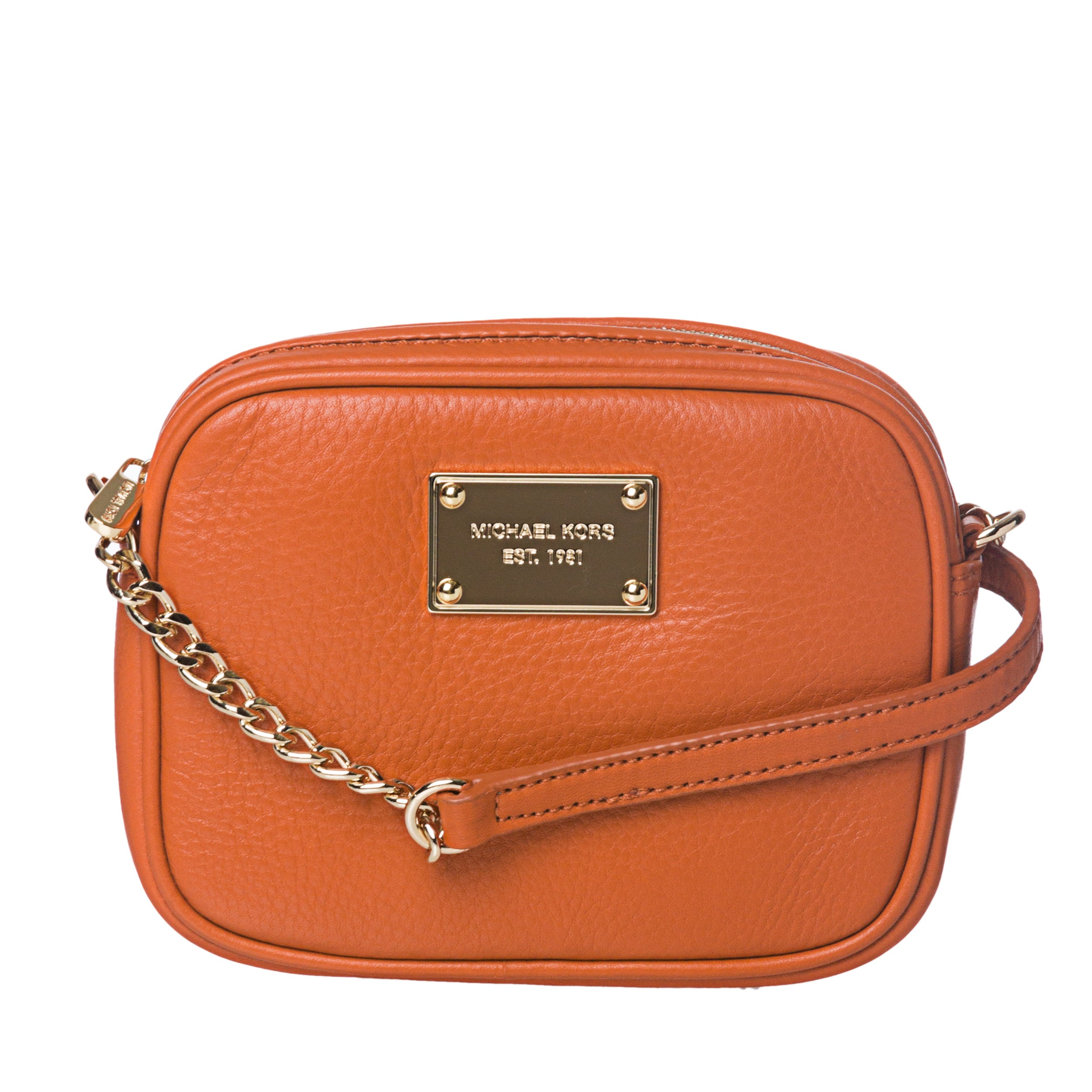 ab11e5911421 Shop Michael Kors 'Jet Set' Mini Pumpkin Leather Cross-body Bag - Free  Shipping Today - Overstock - 6805536