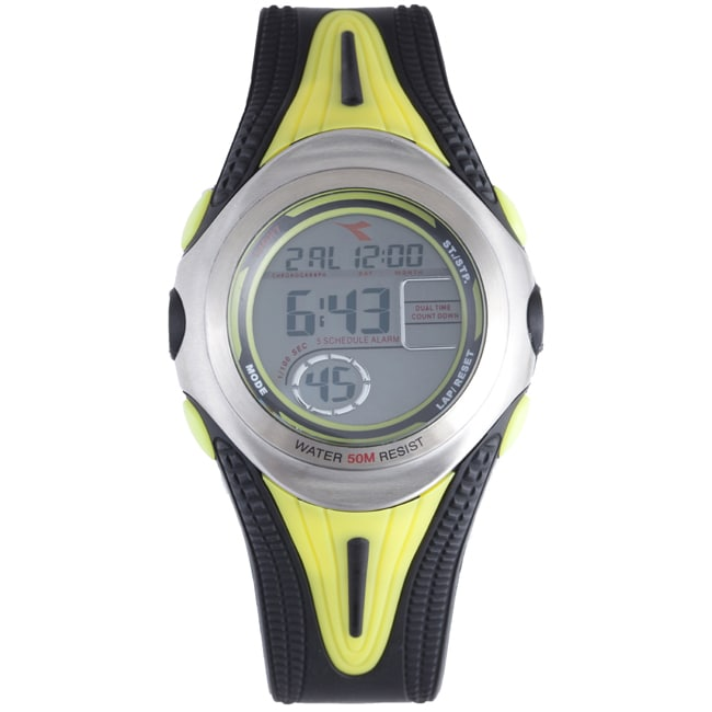 Diadora Men's Grey Dial Dual Time Rubber Digital Watch