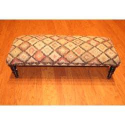 Handmade Kilim Upholstered Bench (India)