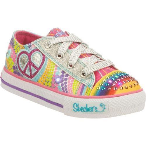 Girls' Skechers Twinkle Toes Shuffles Heart Sparks Silver/Multi
