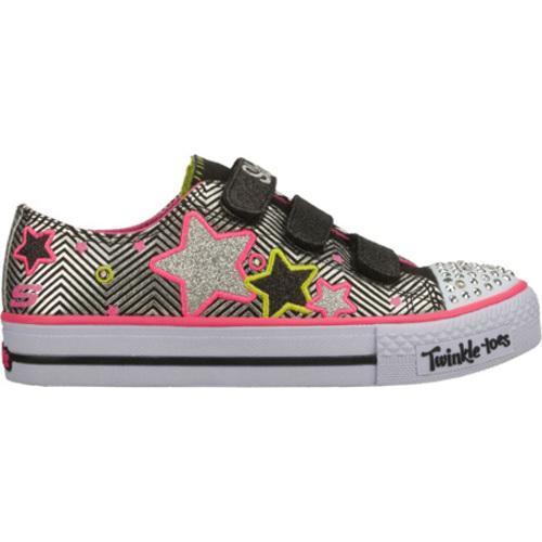 Girls' Skechers Twinkle Toes Shuffles Triple Up Black/Pink