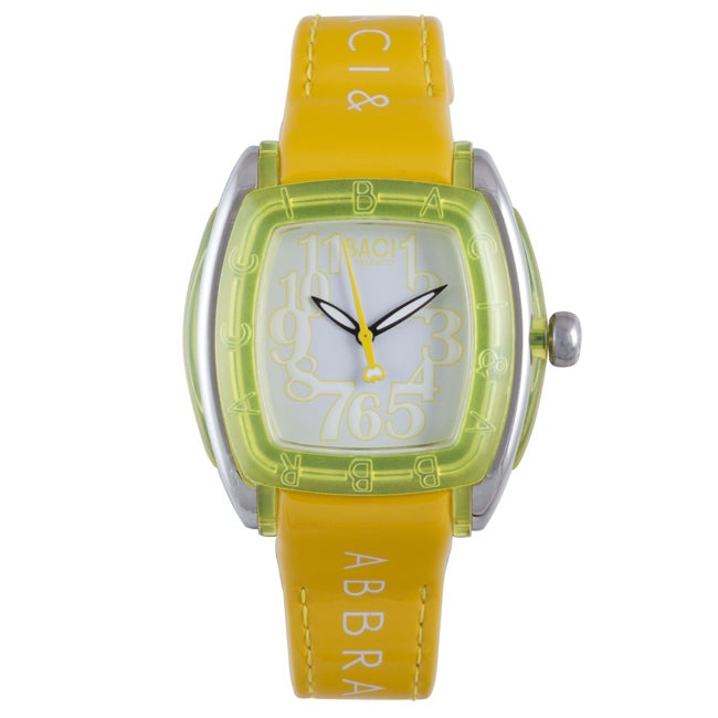 Baci Abbracci Women's Yellow Patent Leather Watch