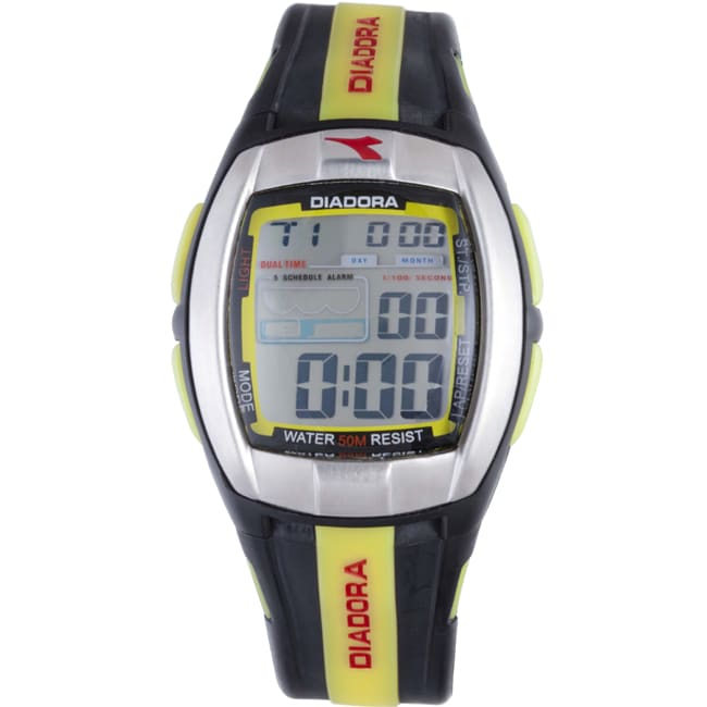 Diadora Men's Grey Dial Dual Time Display Black/ Yellow Rubber Digital Watch
