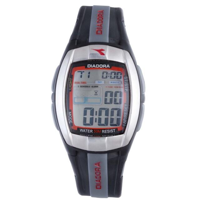 Diadora Men's Grey Dial Dual Time Black Rubber Digital Watch