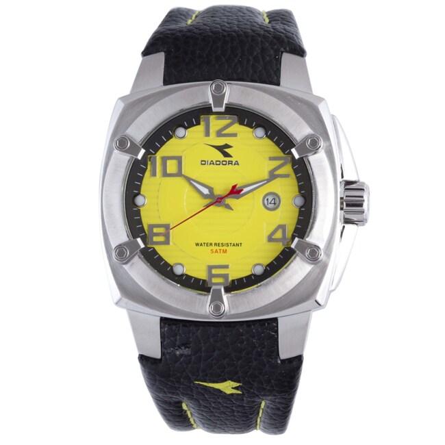 Diadora Men's Yellow Dial Black Leather Date Watch