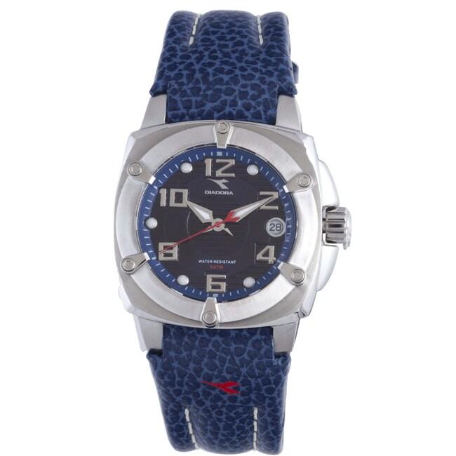 Diadora Women's Blue Dial Leather Date Watch