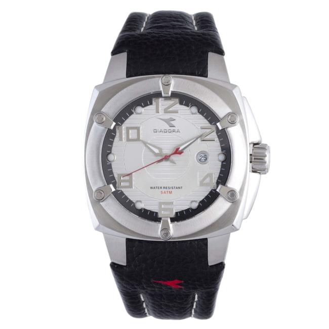 Diadora Men's Silver Dial Black Leather Date Watch