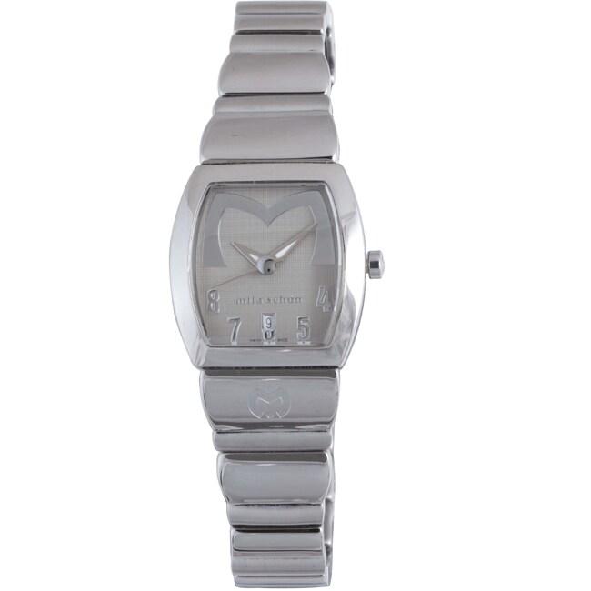 Mila Schon Women's Beige Textured Dial Stainless Steel Date Quartz Watch