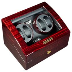 Steinhausen 12-mode Quad Tiger Cherry Lacquer Coated Wood Watch Winder - Thumbnail 1