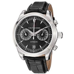 Carl F. Bucherer Men's 'Manero' Black Dial Black Leather Strap Watch