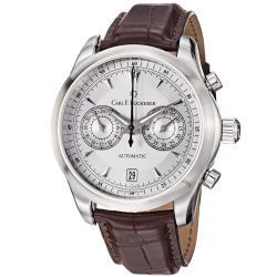 Carl F. Bucherer Men's 'Manero' Silver Dial Brown Chronograph Watch