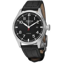 Alpina Men's 'Aviation Pilot' Black Dial Black Leather Strap Watch