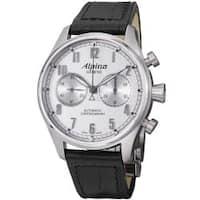 Alpina Men's 'Aviation' Silver Dial Black Strap Automatic Watch