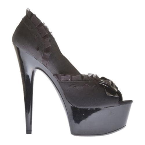 Women's Highest Heel Amber-241 Black Satin Genuine