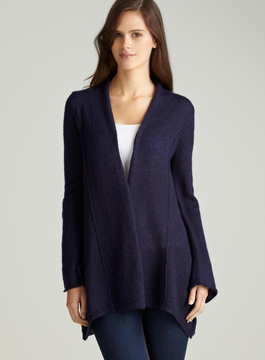 August Silk Shine Bell Open Front Cardigan