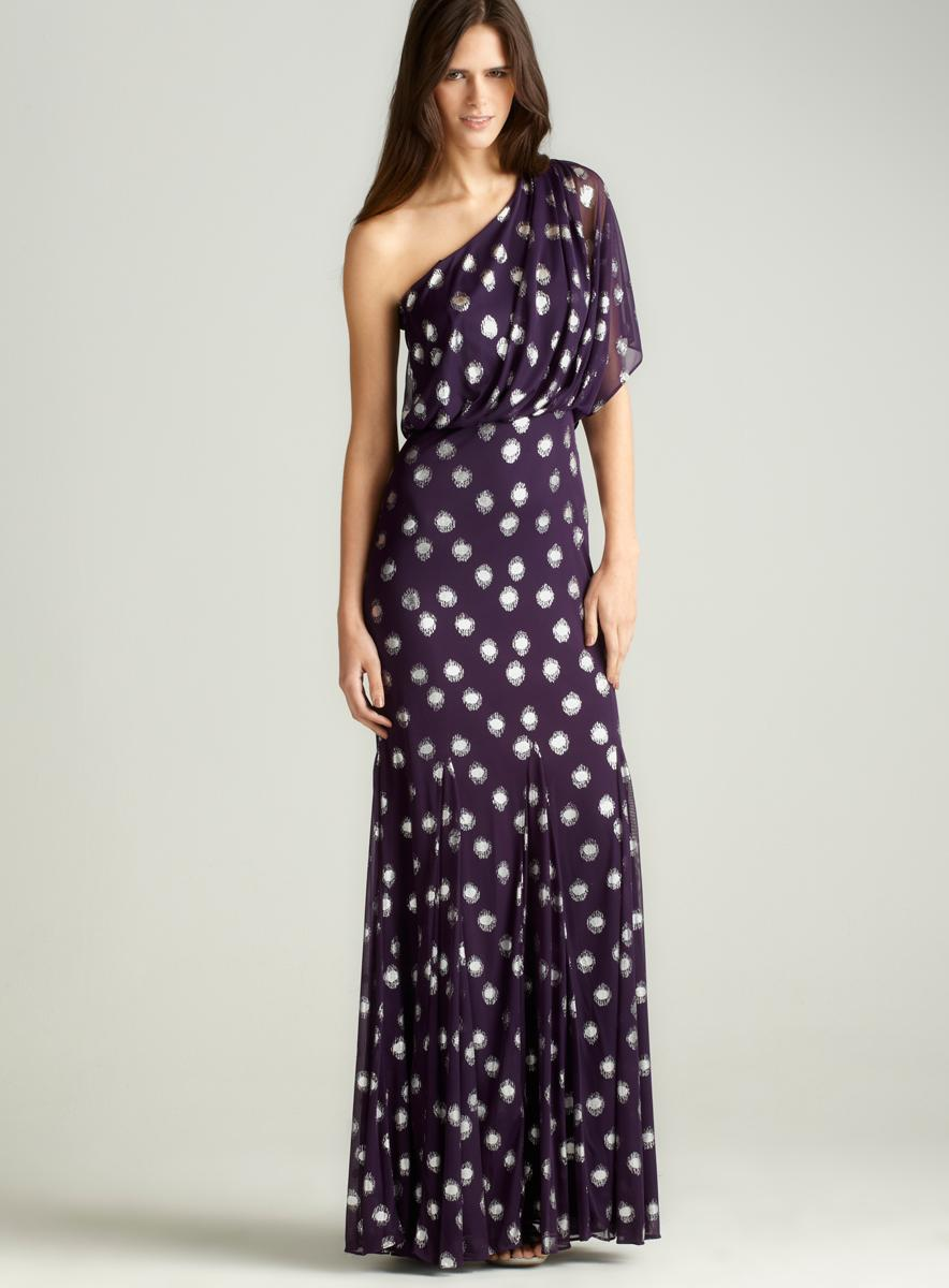 Adrianna Papell One Shoulder Foil Dot Gown