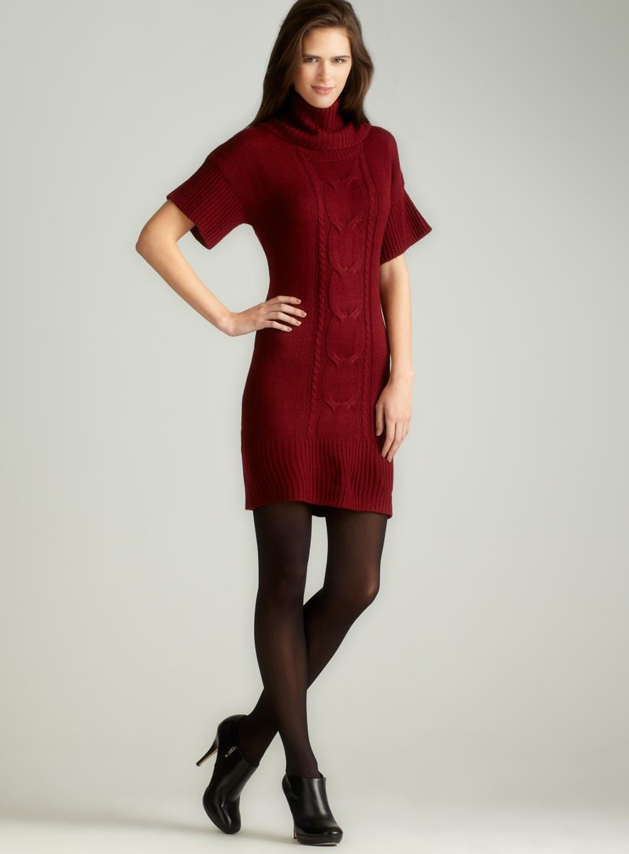 Pink Rose Cowl Neck Cable Sweaterdress