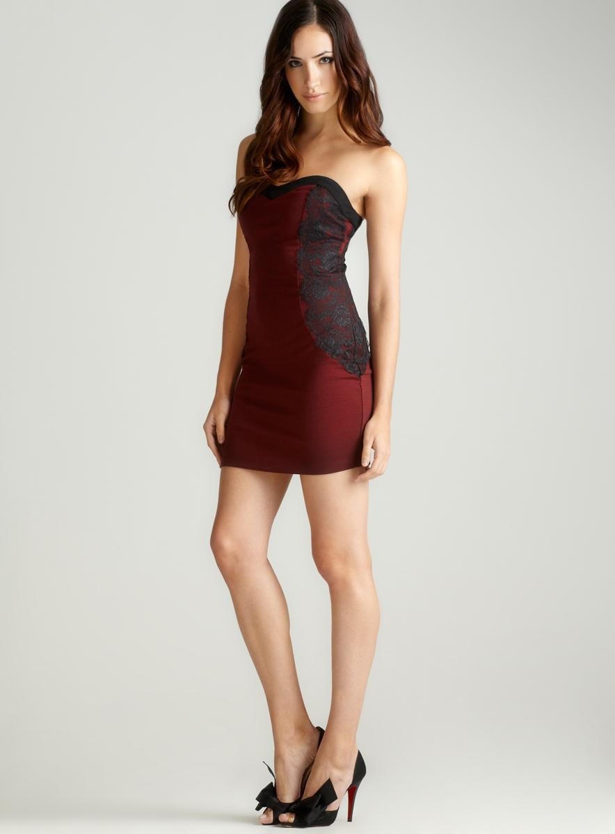 Romeo & Juliet Couture Ponte Strapless Colorblock