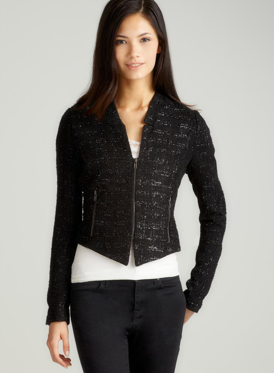 Romeo & Juliet Couture Tweed L/S Jacket W/ Side Zppr