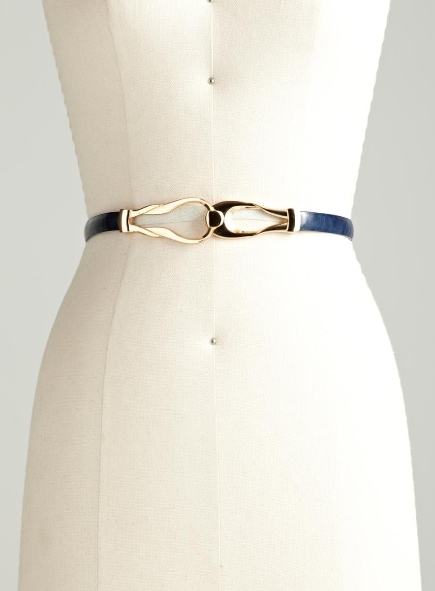 Steve Madden Skinny Leather Interlock Belt