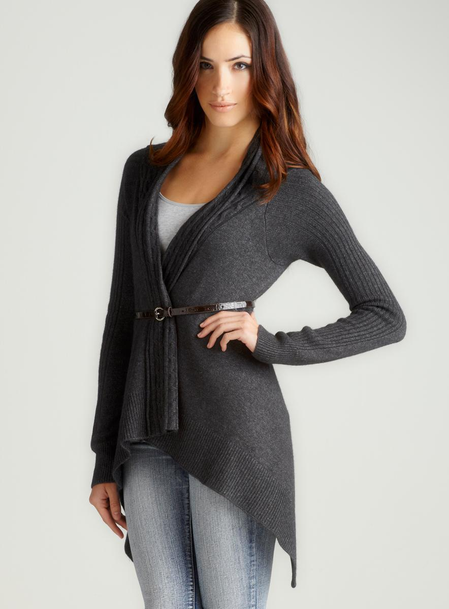 Vertigo Cable Trim Open Front Sweater
