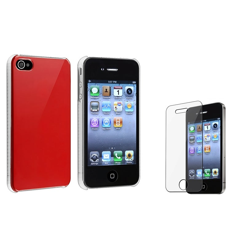 Red Shiny Case/ Screen Protector for Apple iPhone 4/ 4S
