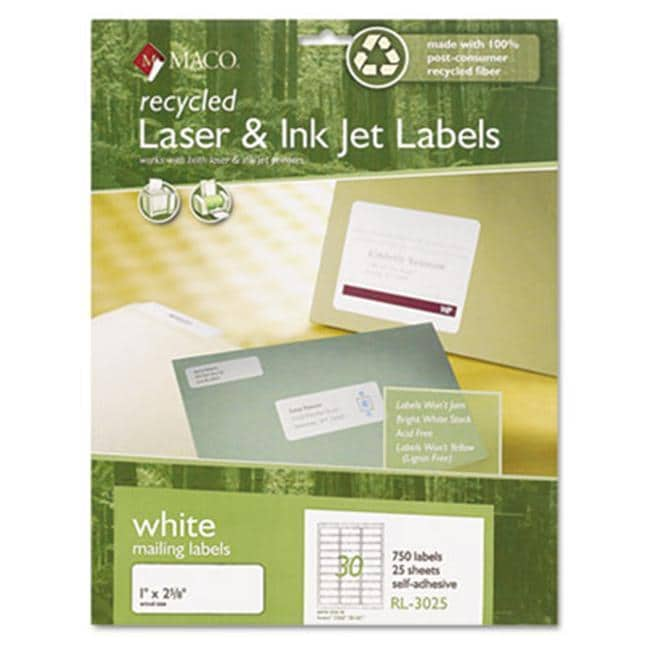 maco recycled laser and inkjet labels 1 x 2 free. Black Bedroom Furniture Sets. Home Design Ideas