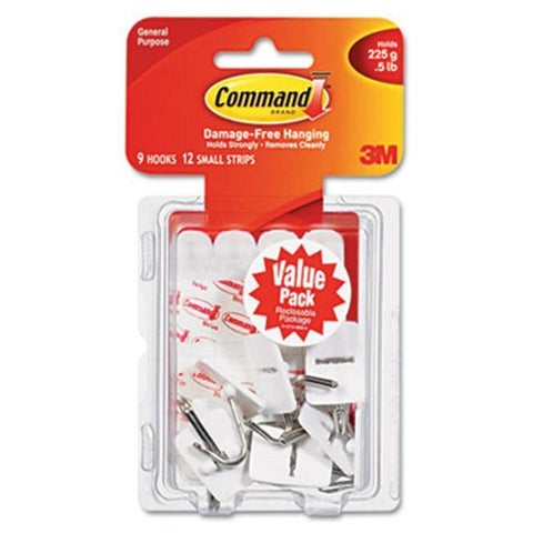 3M Adhesive Hook Value Pack, Small, Holds