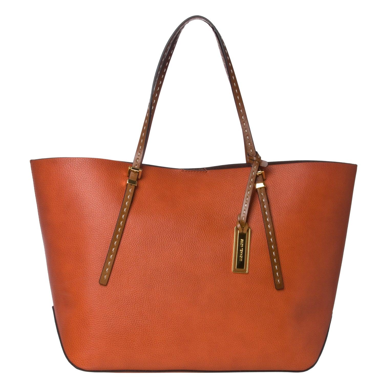 shop michael kors gia large orange leather tote bag free rh overstock com