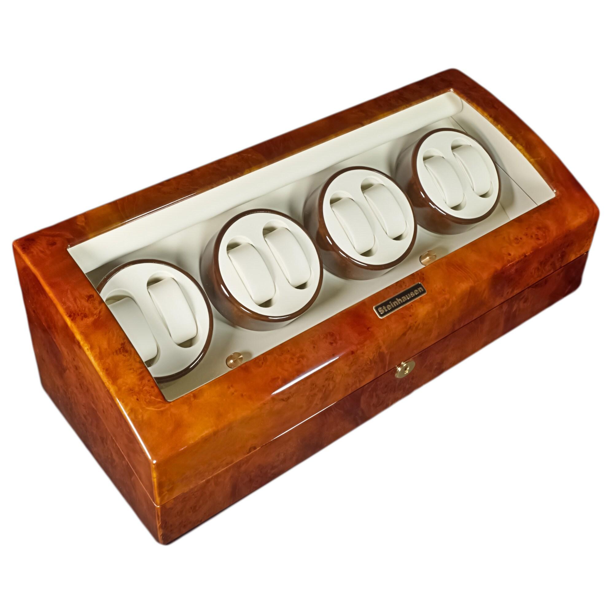 Steinhausen 4-mode Eight Cherry Lacquer Coated Wood Watch Winder