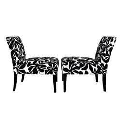 Portfolio Niles Black Floral Armless Chair (Set of 2)