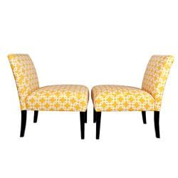 Portfolio Niles Yellow Geometric Links Armless Chair (Set of 2)