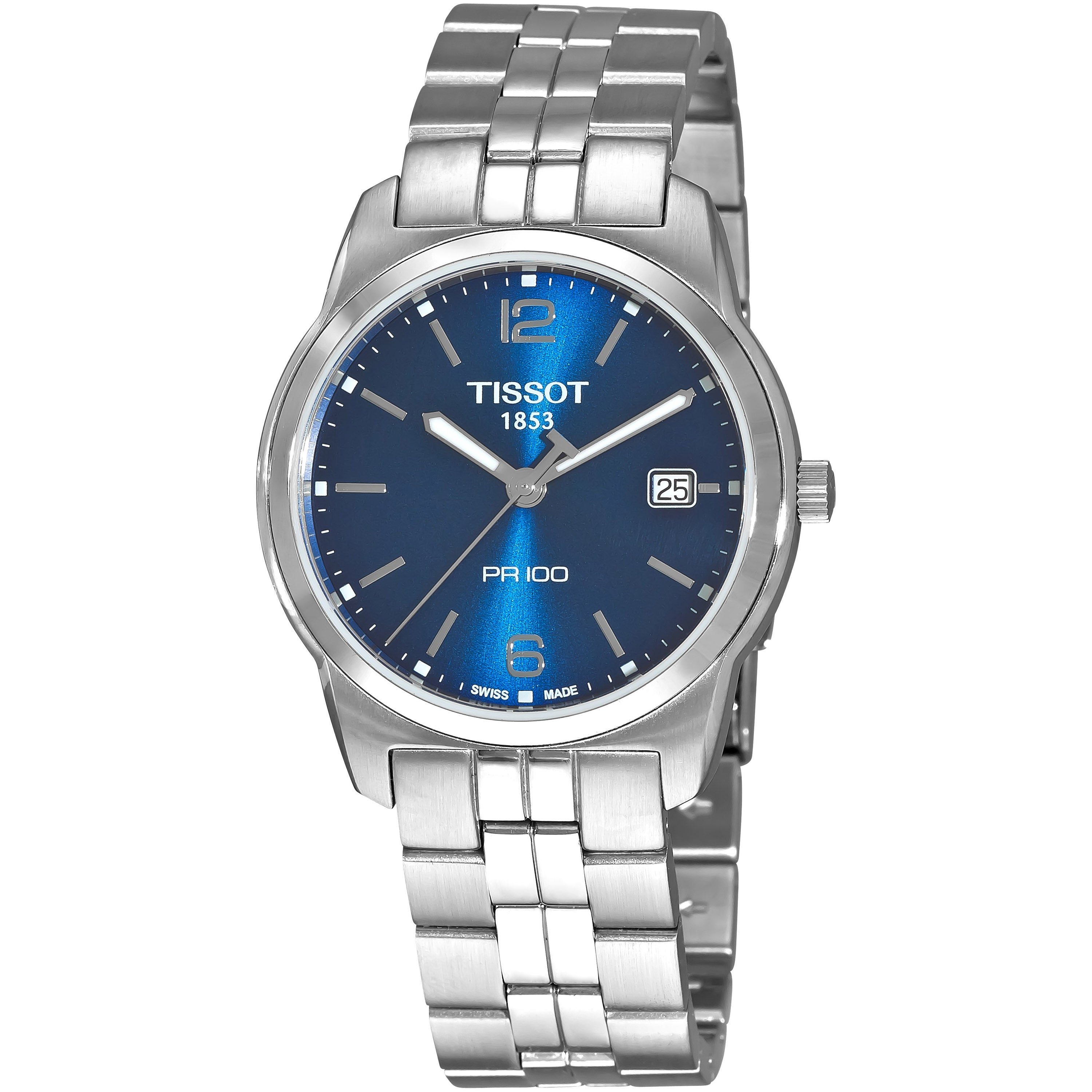 Tissot Men's 'PR 100' Blue Dial Stainless Steel Quartz Wa...
