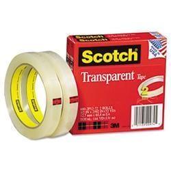 3M Transparent Tape 600-2P12-72 .5 X 2592 3 core