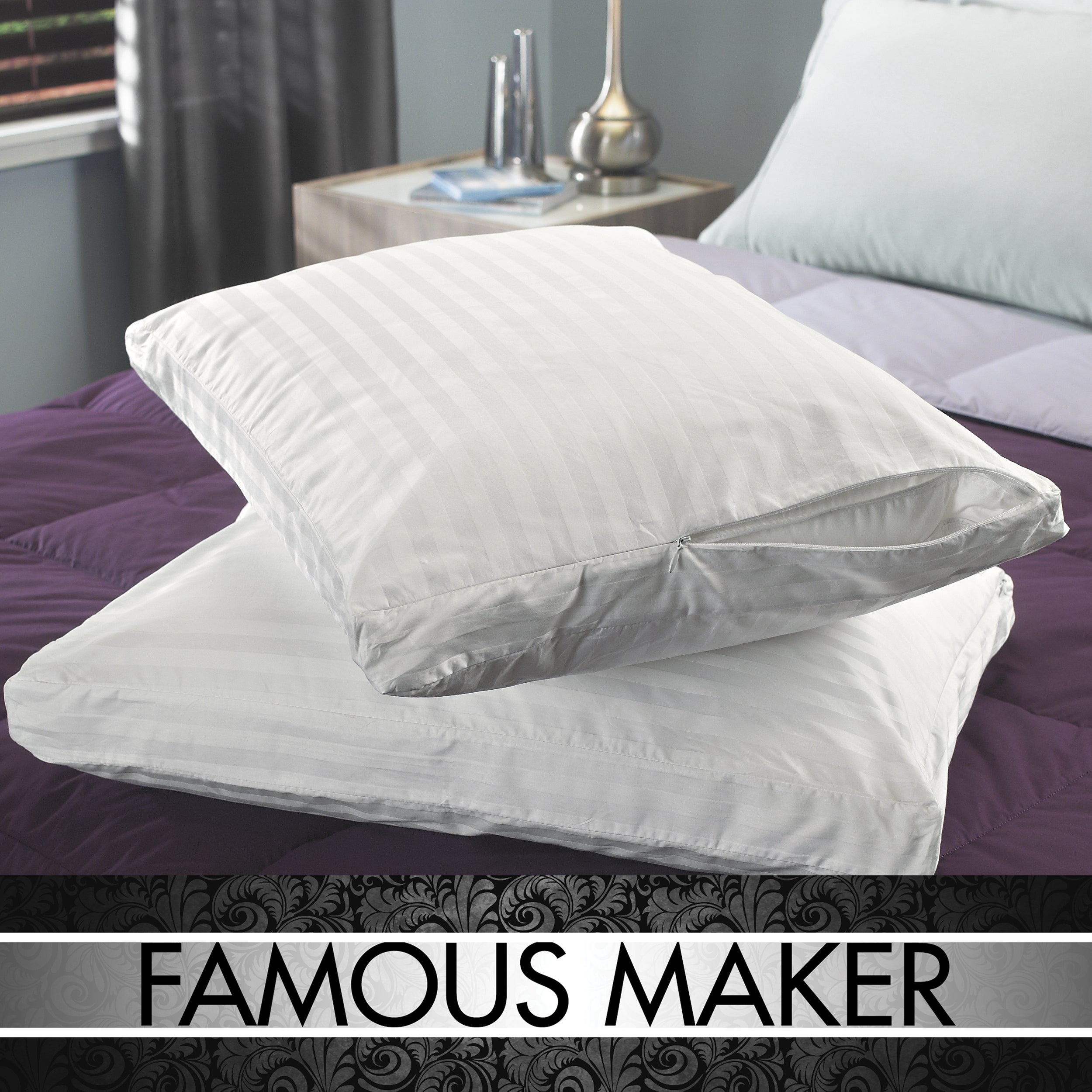 Famous Maker Supima Cotton Antimicrobial Down-like Pillows (Set of 2) - Thumbnail 0