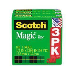 3M Magic Tape Refill 1/2 x 36 Yards 3 Pack