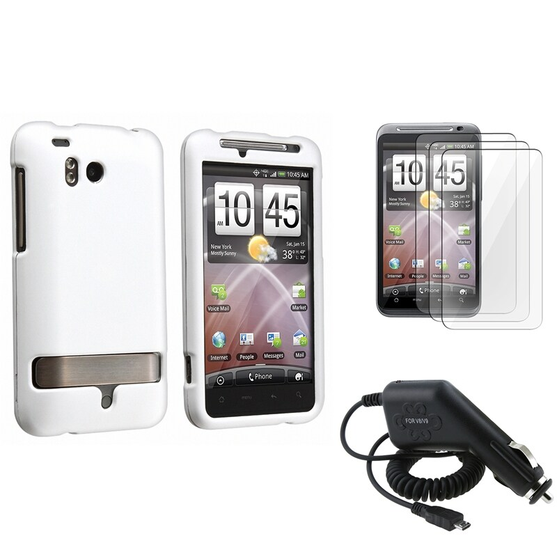 White Rubber Coated Case/ Protector/ Charger for HTC ThunderBolt 4G