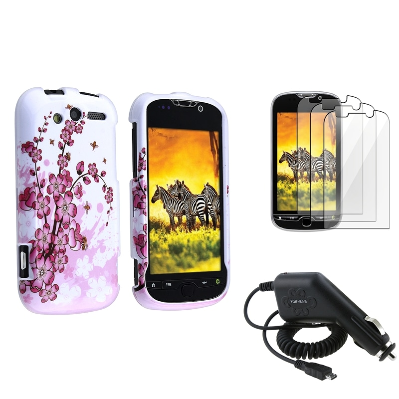Spring Flowers Case/ LCD Protector/ Car Charger for HTC Mytouch 4G