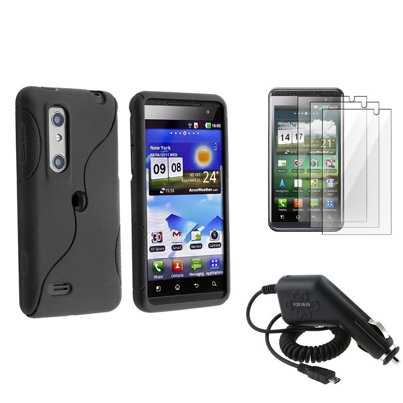 Frost Black TPU Case/ LCD Protector/ Car Charger for LG P920 Thrill 4G