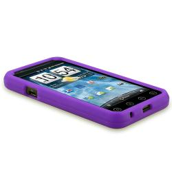 Purple Silicone Case/ LCD Protectors/ Car Charger for HTC EVO 3D