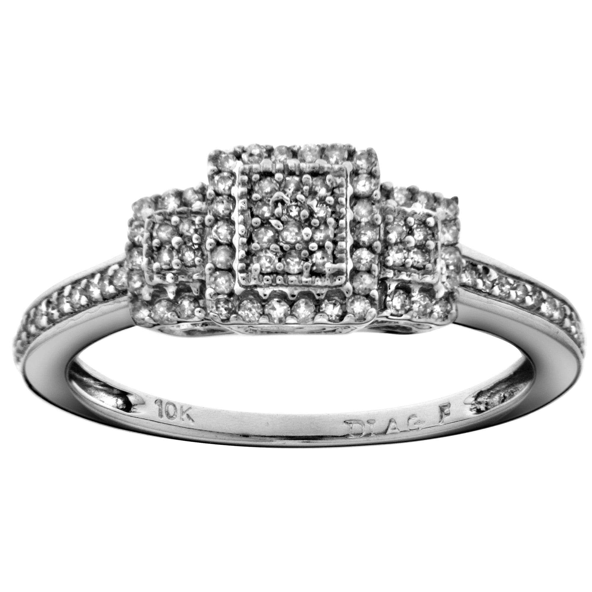 10k White Gold 1/4ct TDW Diamond Engagement Ring (H-I,I2-I3)