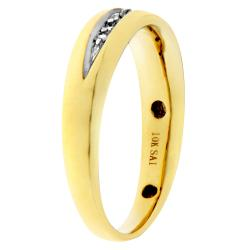 10k Yellow Gold Men's 1/10ct TDW Diamond Ring (H-I, I2-I3) - Thumbnail 1